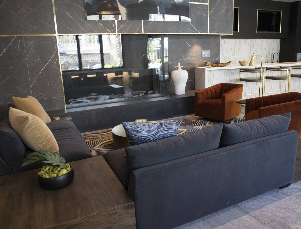 Resident lounge at Auric Symphony Park, the first luxury multifamily residential community at S ...