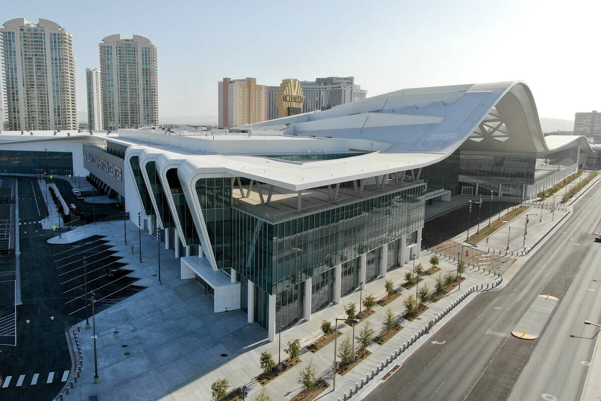Aerial view of the Las Vegas Convention Center expansion as seen on Tuesday, April 6, 2021. (Mi ...