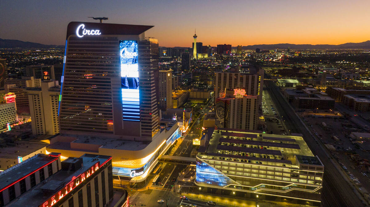 An aerial view of CircaCirca Resort & Casino in downtown Las Vegas, on Tuesday evening, Oct ...