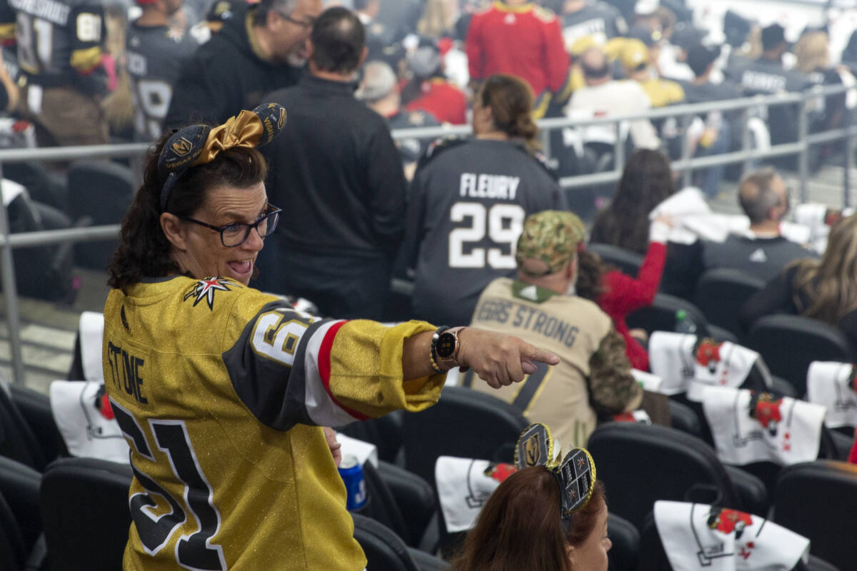 A Golden Knights fan gets excited before Game 5 of an NHL hockey Stanley Cup semifinal playoff ...