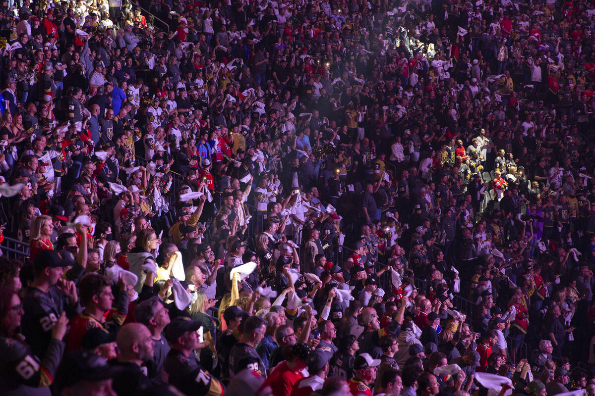 Golden Knights fans fill the stands ahead of Game 5 of an NHL hockey Stanley Cup semifinal play ...
