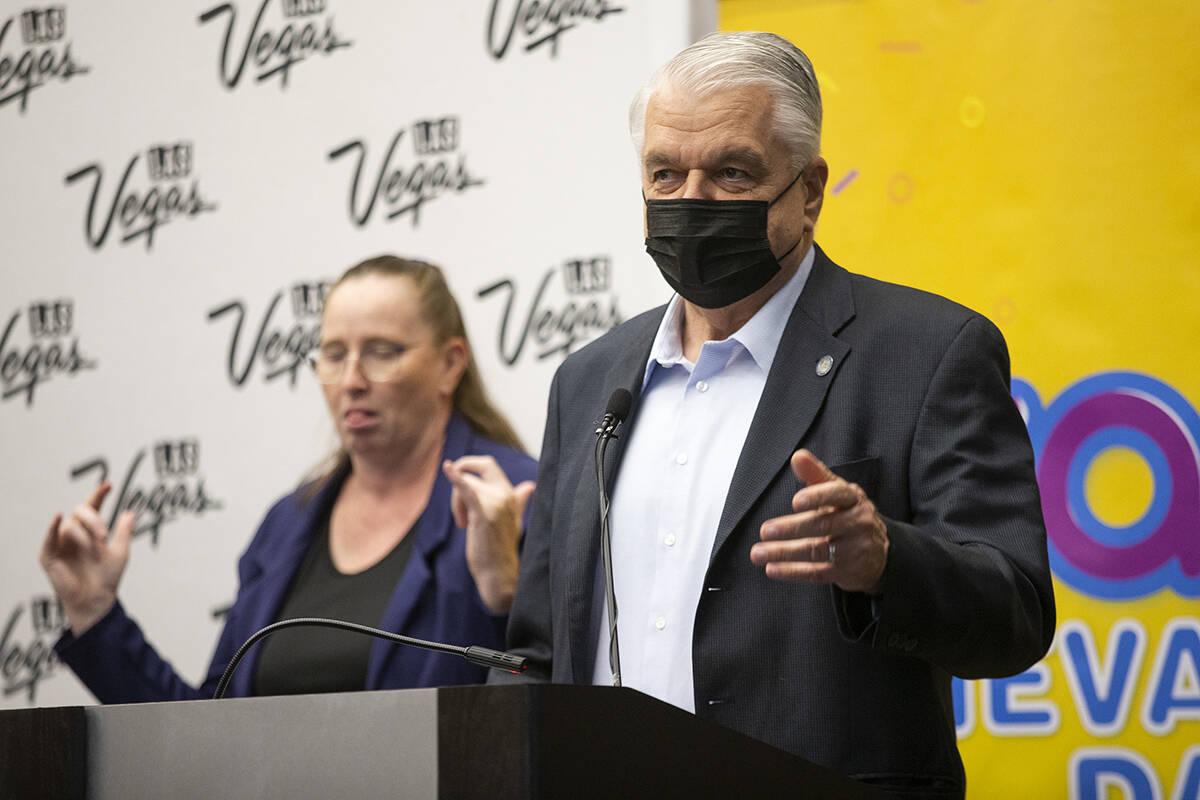 Gov. Steve Sisolak speaks during the final Vax Nevada Days winner announcement at the Las Vegas ...