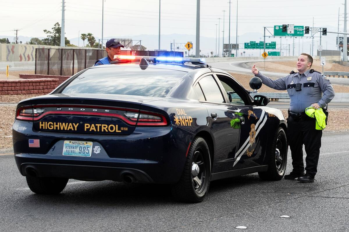 An onramp to U.S. Highway 95 is shut down Sept. 1 as emergency personnel work the scene where a ...