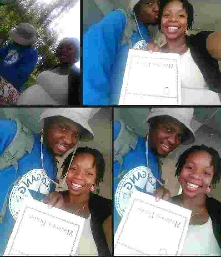 Michael Myers, 27, and his pregnant wife, Desiree Robinson, also 27, smile after getting marrie ...