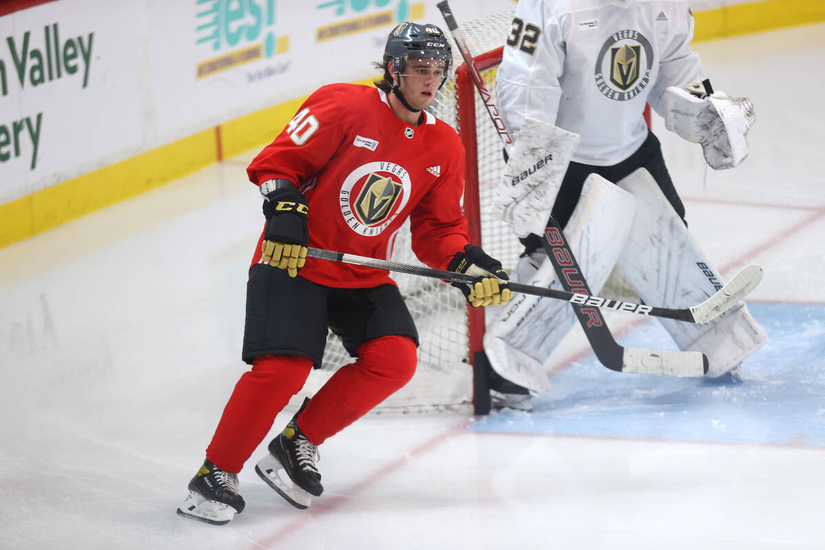 Vegas Golden Knights' Lukas Cormier (40) participates during rookie camp at City National Arena ...
