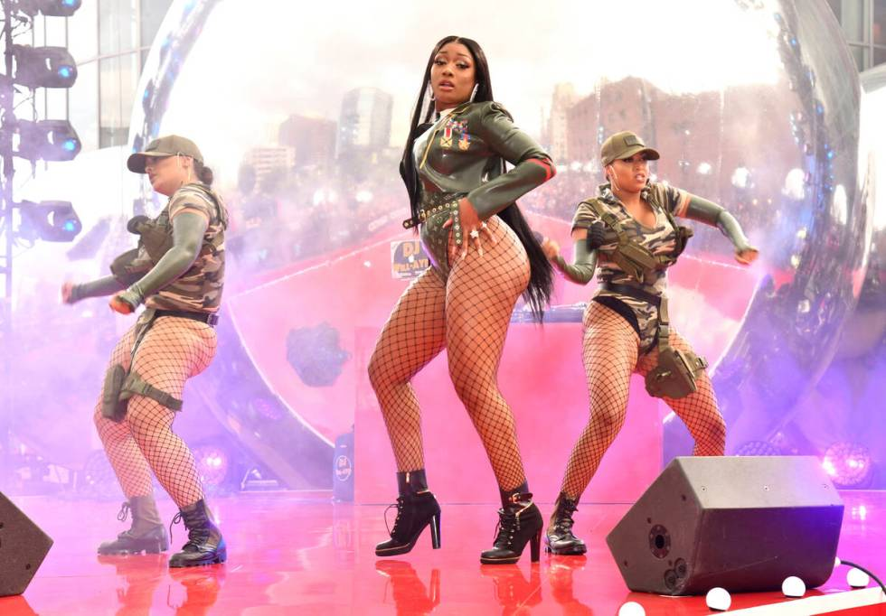 Megan Thee Stallion performs at the MTV Video Music Awards in Newark, N.J.. (Photo by Charles S ...