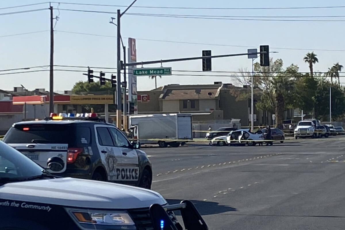 Police investigate a fatal crash near East Lake Mead Boulevard and North Walnut Road on Thursda ...