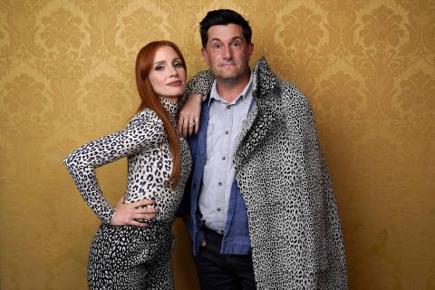 """Jessica Chastain, left, the star of """"The Eyes of Tammy Faye,"""" poses for a portrait with directo ..."""