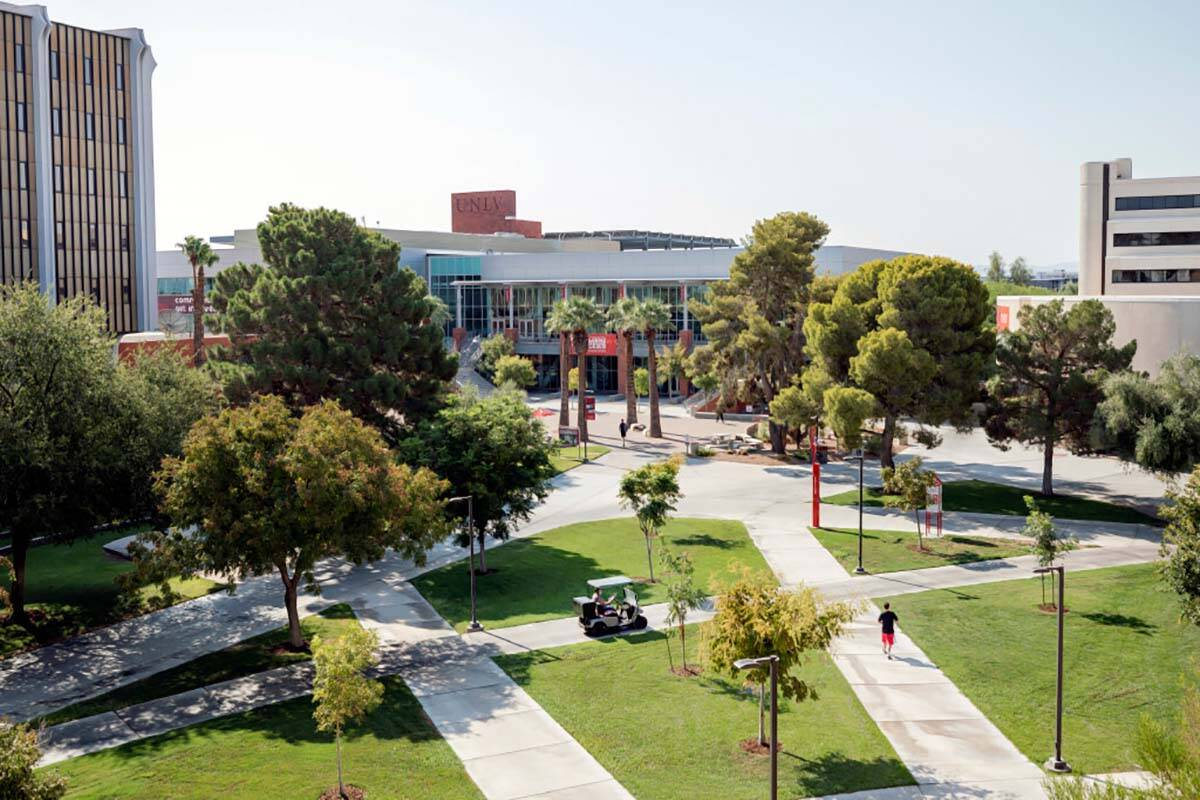 The campus of UNLV is seen in Las Vegas on Thursday morning, Aug. 27, 2020. (Elizabeth Brumley/ ...
