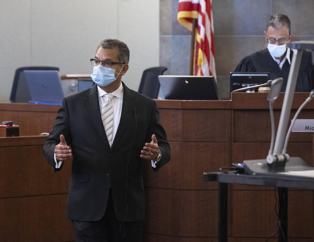 Christopher Oram, representing Omar Rueda-Denvers, delivers a closing arguments during Denvers' ...