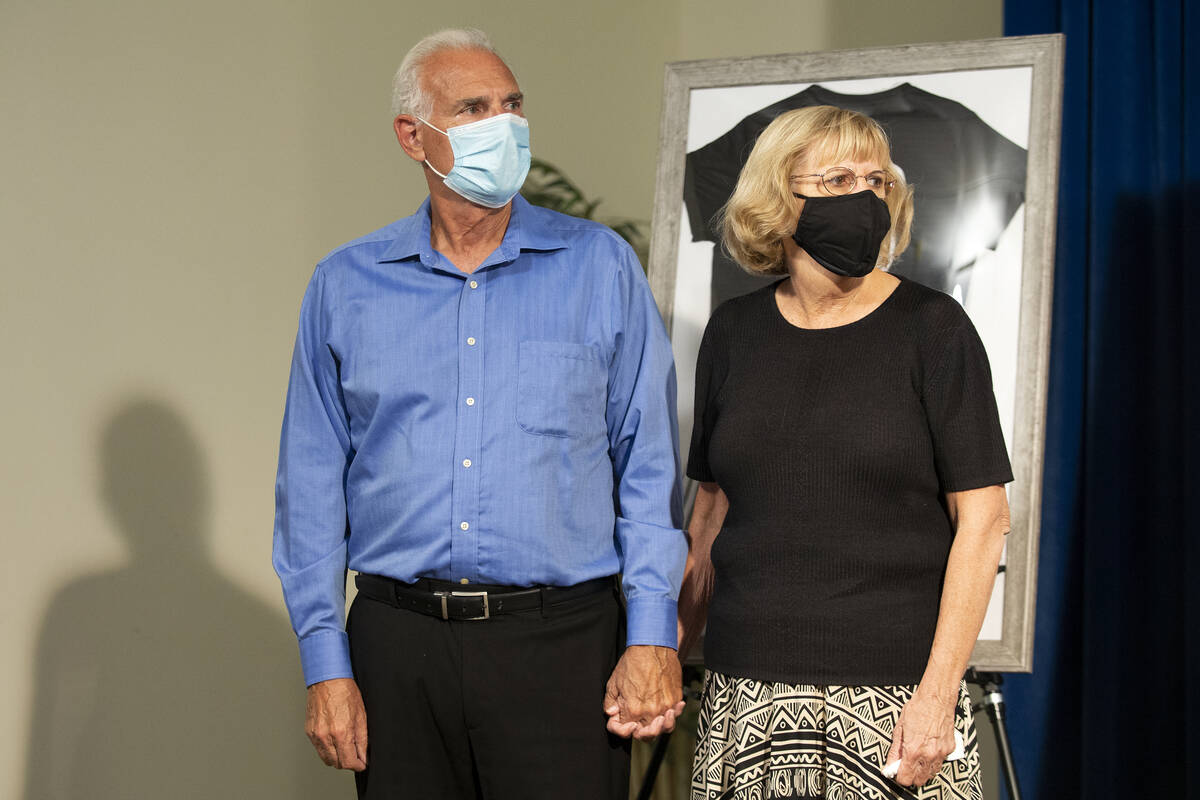 Mia Gugino's grandparents Gary and Judith Gugino listen during a press conference about their 1 ...