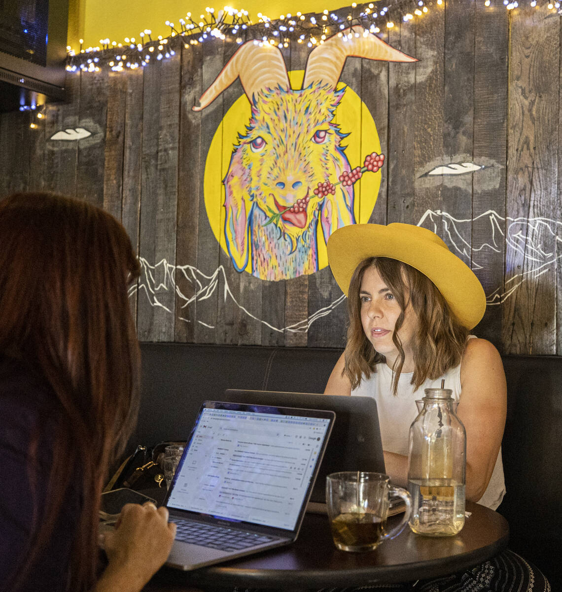 Customers enjoy dinner service at Makers & Finders on Wednesday, Sept. 15, 2021, in Las Veg ...