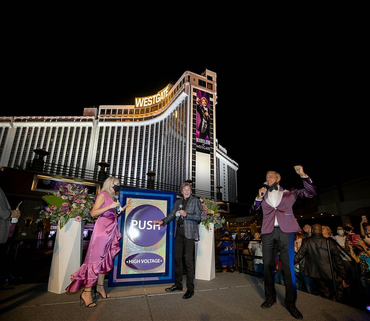 Westgate President and GM Cami Christensen, Barry Manilow and Westgate PR exec Gordon Prouty ar ...