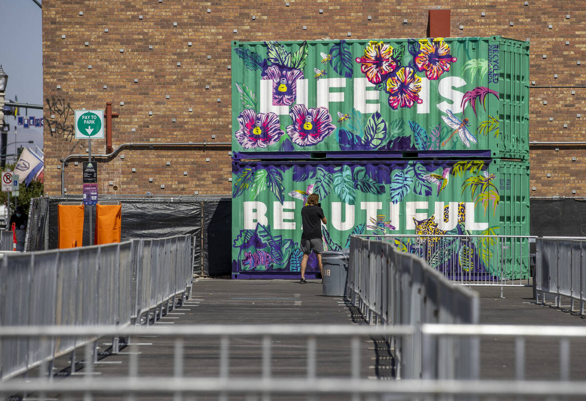 Art containers are in place about an entrance to Life is Beautiful off of South 6th Street on T ...