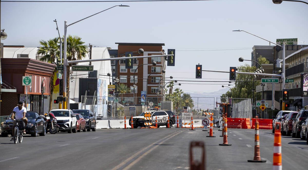 Traffic is closed for Life is Beautiful along West Carson Avenue at South 7th Street on Thursda ...