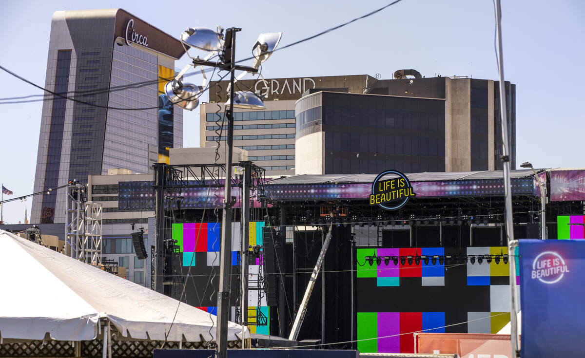 The video screens for the Life is Beautiful main stage are readied on Thursday, Sept. 16, 2021, ...