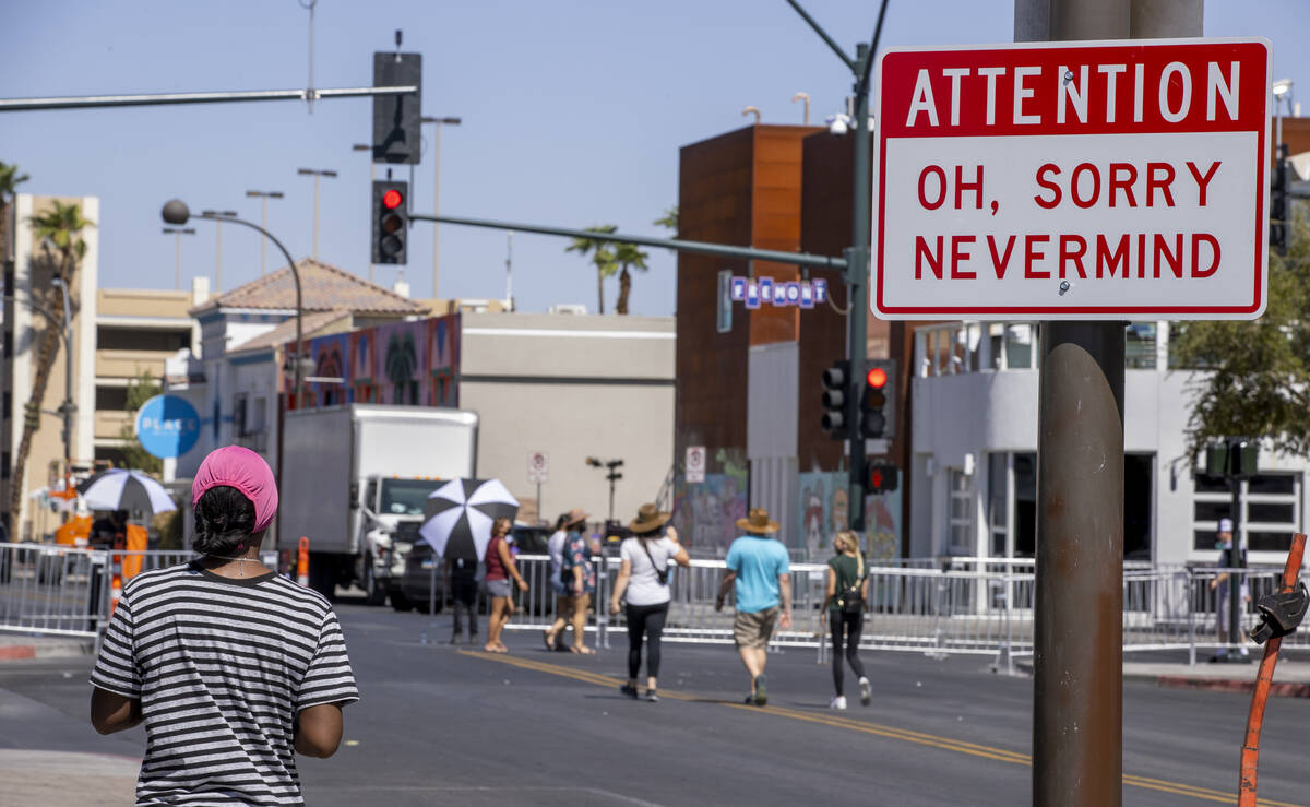 A funny sign hangs about Life is Beautiful on South 7th Street on Thursday, Sept. 16, 2021, in ...
