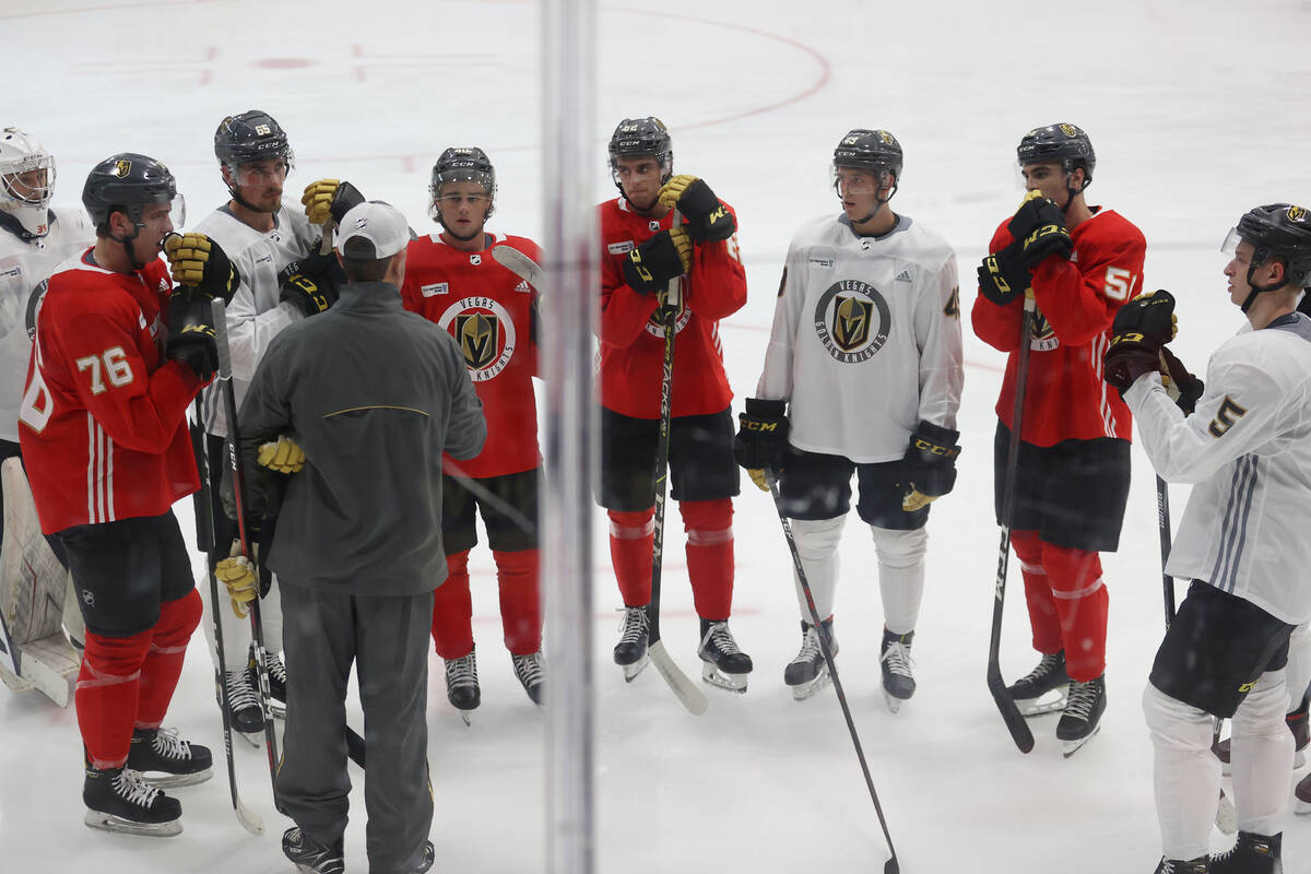 Vegas Golden Knights players participate during rookie camp at City National Arena in Las Vegas ...