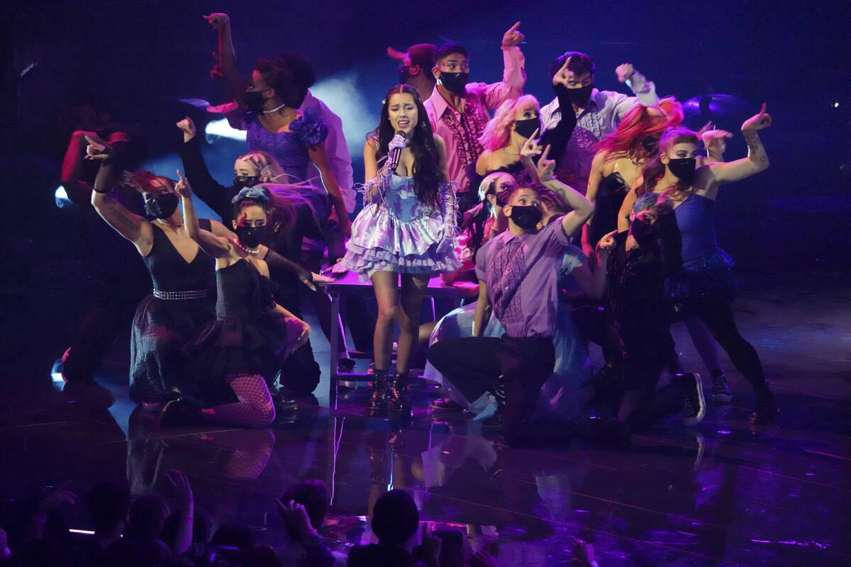 "Olivia Rodrigo performs ""Good 4 U"" at the MTV Video Music Awards at Barclays Center o ..."