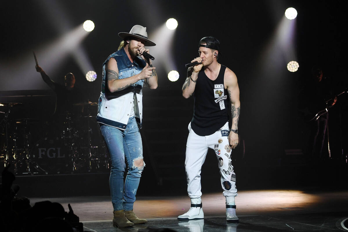 American country music duo Brian Kelley, left, and Tyler Hubbard of Florida Georgia Line perfor ...