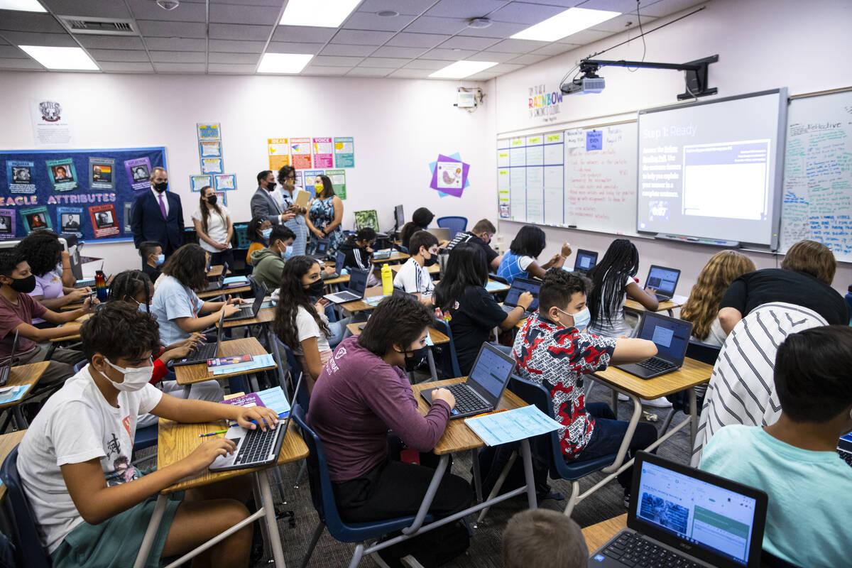 Clark County School District Superintendent Dr. Jesus Jara, upper left, visits an English class ...