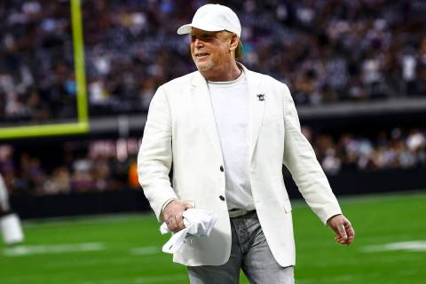 Raiders owner Mark Davis is seen before an NFL football game between the Raiders and the Baltim ...