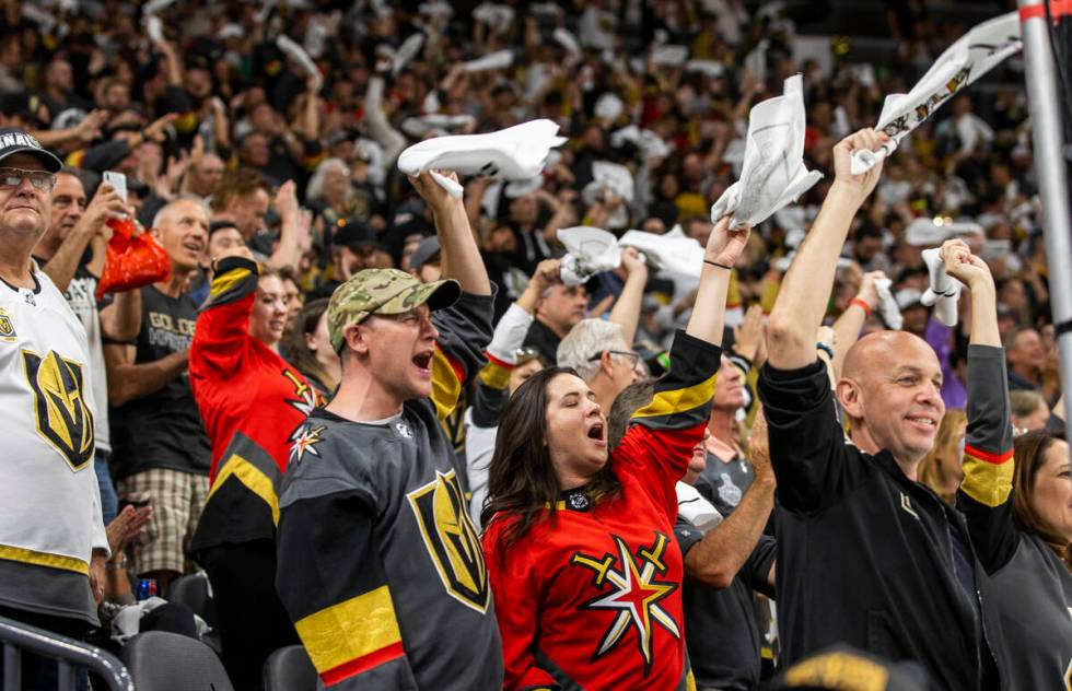 Golden Knights fans celebrate a goal against the Montreal Canadiens at T-Mobile Arena on Wednes ...