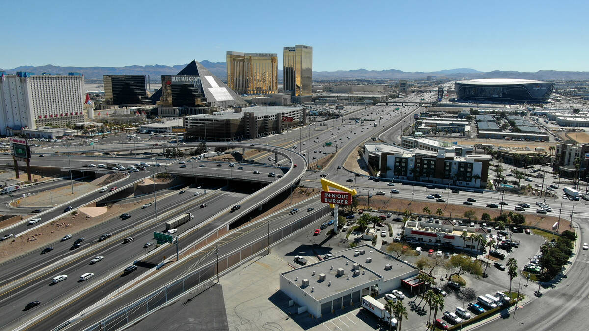 An aerial view of the interchange at Tropicana Avenue and Interstate 15 in Las Vegas, Nevada Tu ...