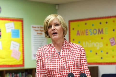 Rep. Susie Lee, D-Nev., addresses the media after touring Estes McDoniel Elementary with other ...