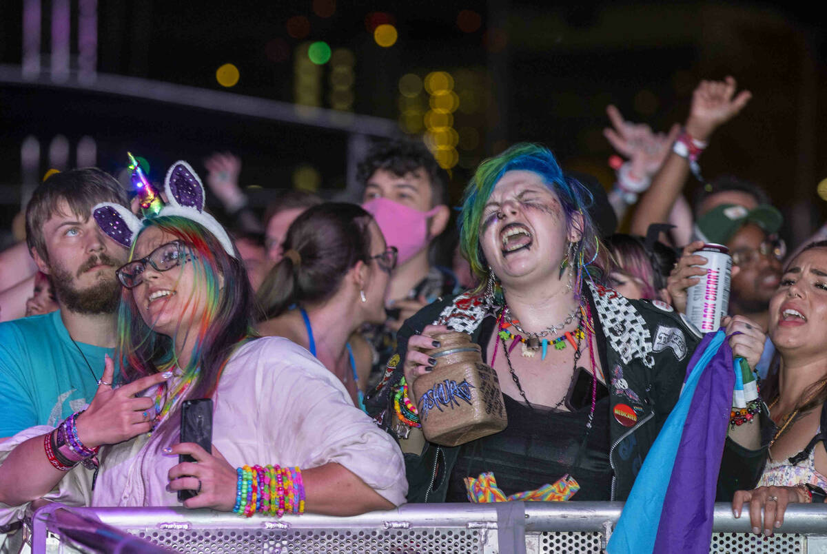 Fans sing along as Ashnikko performs on the Bacardi Stage during day one of Life is Beautiful o ...