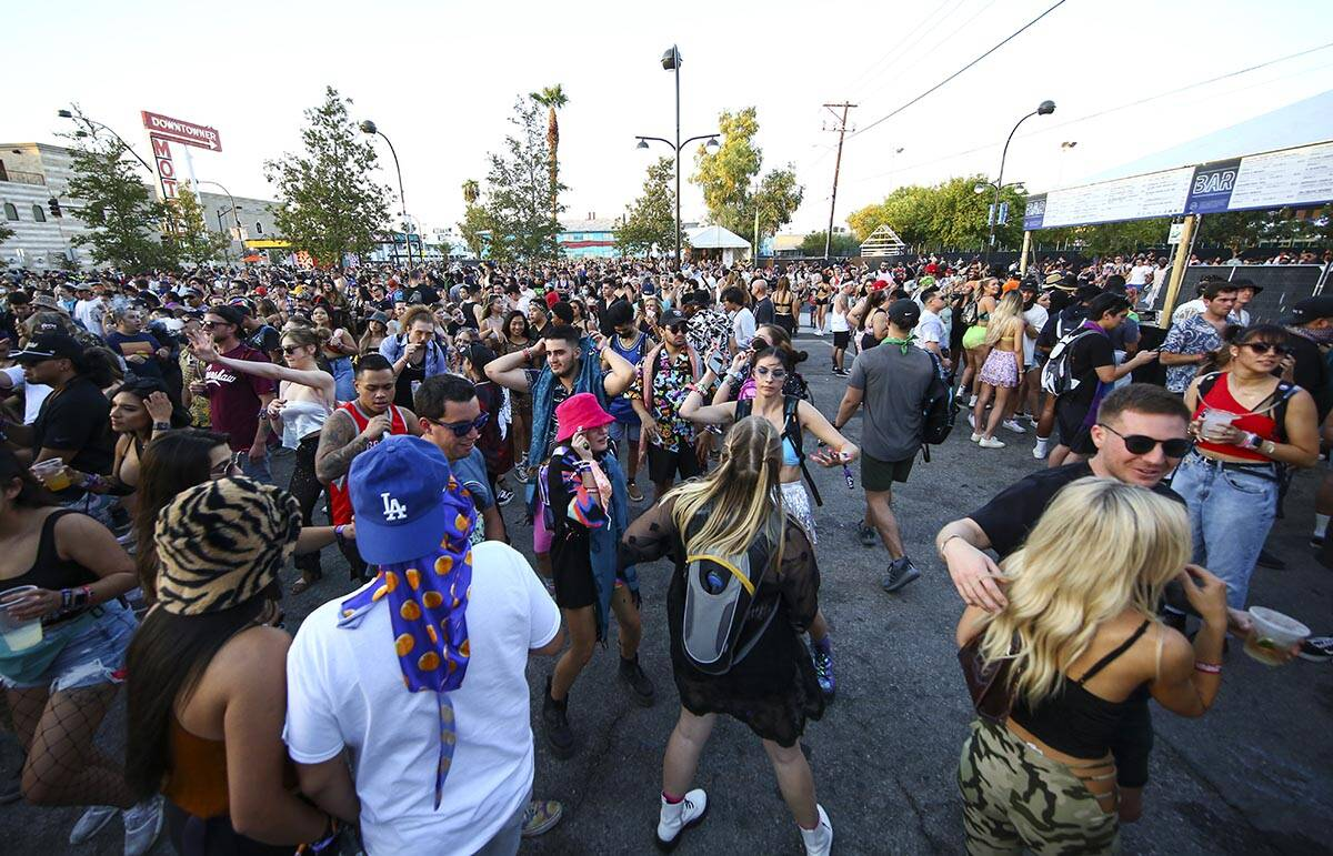 Attendees dance as LSDREAM performs at the Fremont Stage during the final day of the Life is Be ...