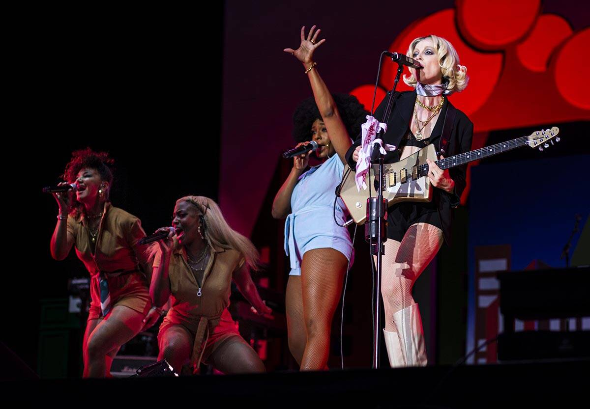 St. Vincent, right, performs at the downtown stage during the final day of the Life is Beautifu ...
