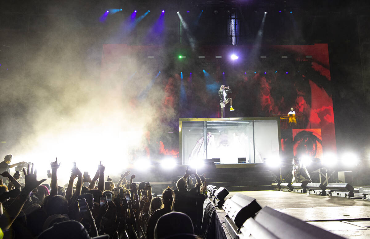 Young Thug performs at the downtown stage during the final day of the Life is Beautiful festiva ...