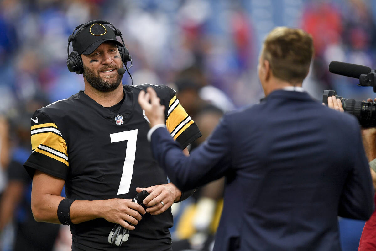 Pittsburgh Steelers quarterback Ben Roethlisberger gives a post-game interview after an NFL foo ...