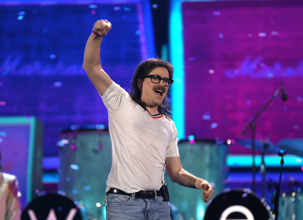 LAS VEGAS, NEVADA - SEPTEMBER 17: Rivers Cuomo of Weezer performs onstage during the 2021 iHear ...