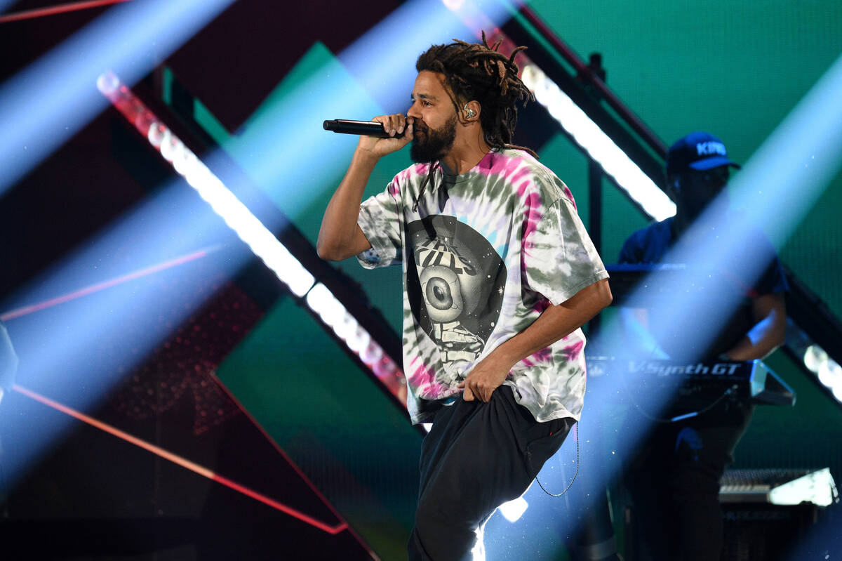 LAS VEGAS, NEVADA - SEPTEMBER 17: J. Cole performs onstage during the 2021 iHeartRadio Music Fe ...