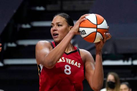 Las Vegas Aces' Liz Cambage in action against the Seattle Storm during a WNBA basketball game S ...