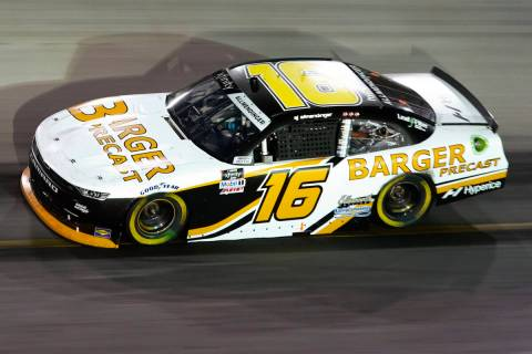 AJ Allmendinger drives through a turn during a NASCAR Xfinity Series auto race at Bristol Motor ...