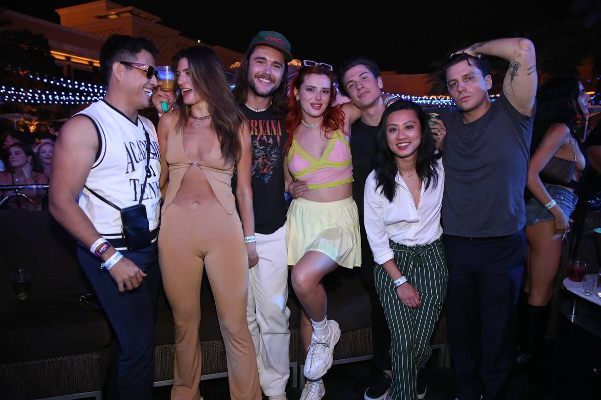 Actress Bella Thorne is shown with a requisite entourage at XS Nightclub at Wynn Las Vegas on ...
