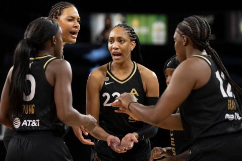 Las Vegas Aces forward A'ja Wilson (22) tries to fire up her team in the first quarter during a ...