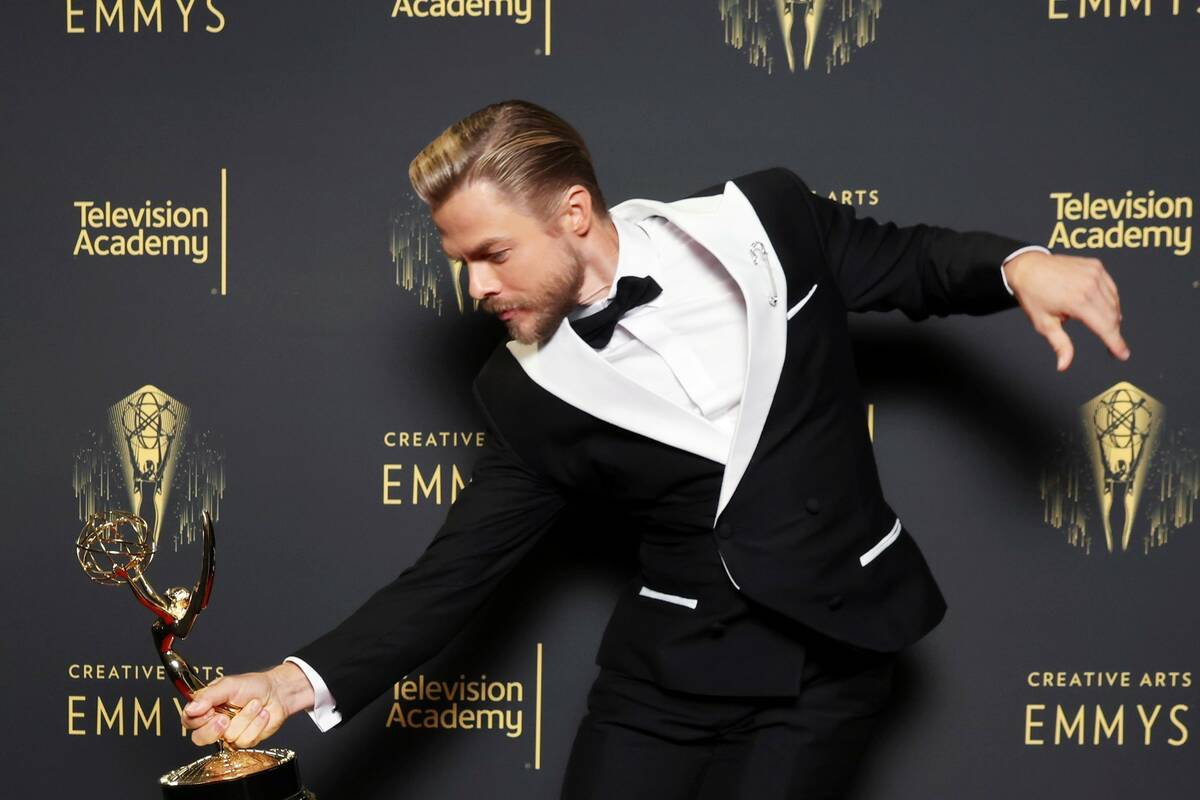 Derek Hough, winner of the Emmy for outstanding choreography for variety or reality programming ...