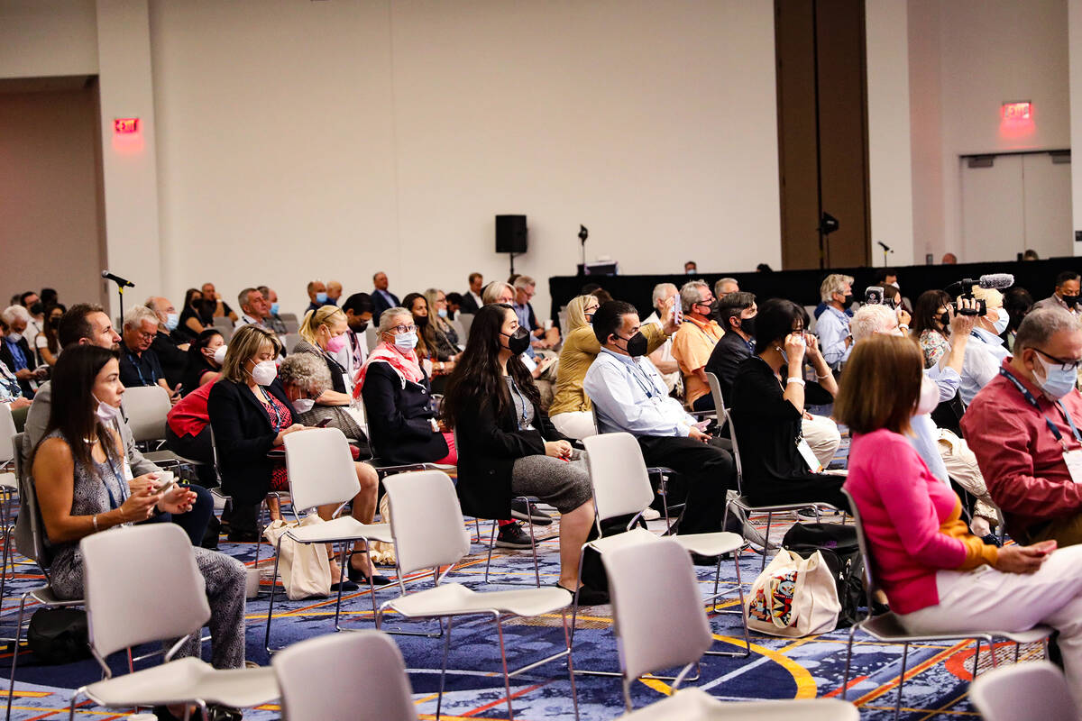 Attendees at the IPW international travel trade event at the Las Vegas Convention Center, Tuesd ...