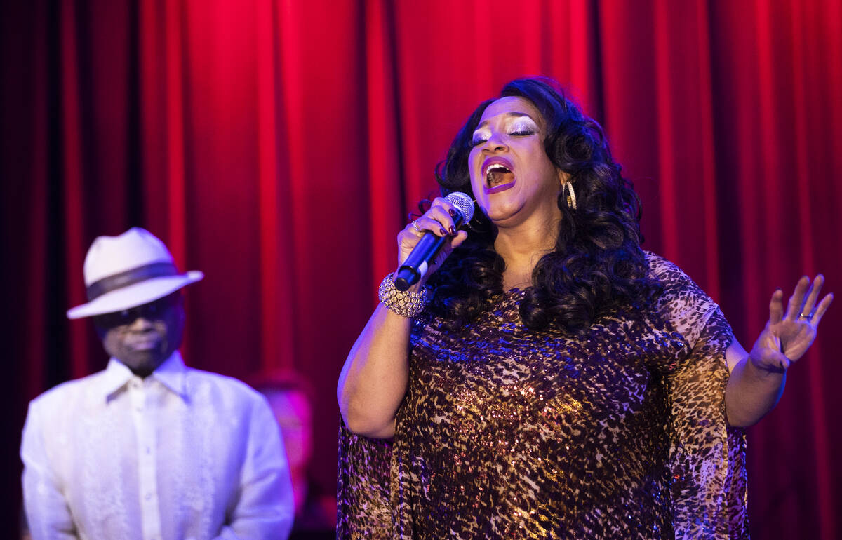"""Michelle Johnson, right, known as """"Las Vegas' First Lady of Jazz,"""" performs at th ..."""