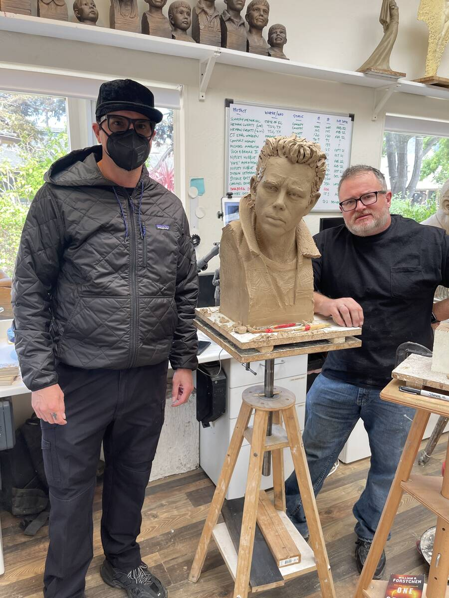 Zak Bagans and artist Steven Whyte are shown with Whyte's James Dean sculpture. When finished i ...