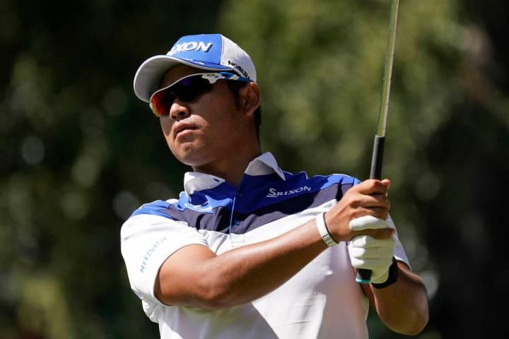 Hideki Matsuyama, of Japan, follows his shot from the seventh tee of the Silverado Resort North ...