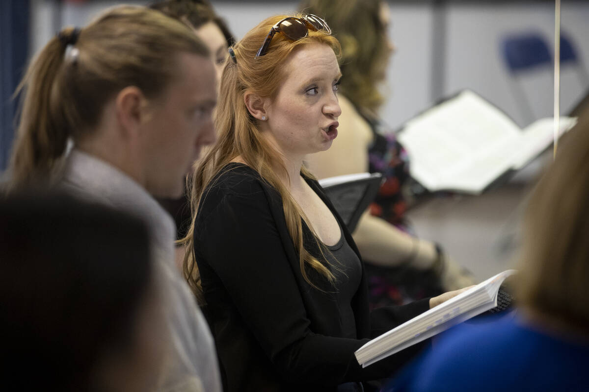 """Kayla Wilkens sings during an opera rehearsal of """"The Ghosts of Gatsby"""" at the Super ..."""