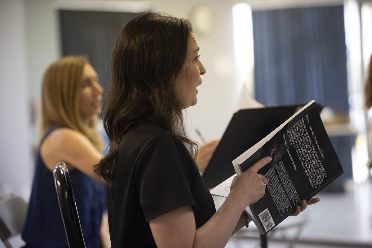 """Athena Mertes sings during an opera rehearsal of """"The Ghosts of Gatsby"""" at the Super ..."""