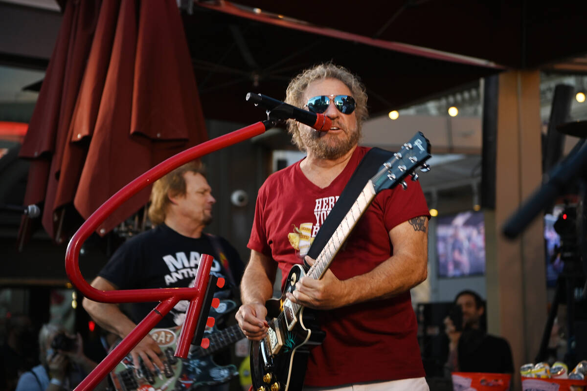 Sammy Hagar performs at the launch of Sammy Beach Bar Cocktail Co. at Beer Park at Paris Las Ve ...