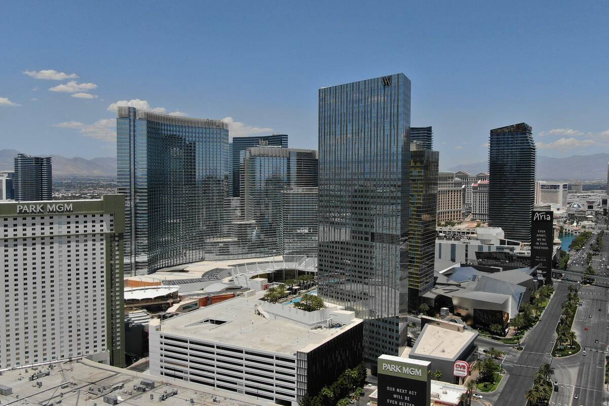 Aerial photo of MGM Resorts International's CityCenter complex as seen on Thursday, June 4, 202 ...