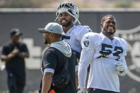 Raiders middle linebacker Denzel Perryman (52) winces during practice at the Intermountain Heal ...